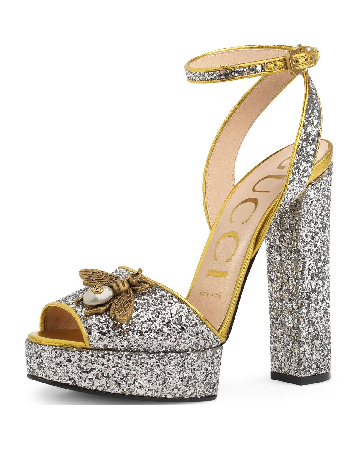 d5ee6a46a6a Soko Glittered Ankle-Wrap Platform Sandals Silver
