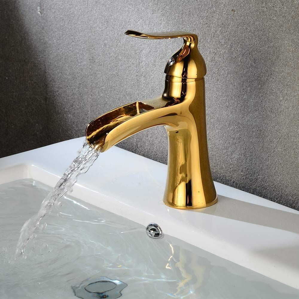 Wovier W 8238 G Waterfall Bathroom Sink Faucet Gold Short Body