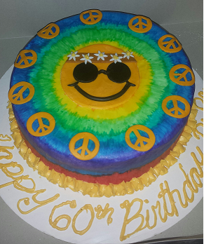 Wondrous Hippie Birthday Cake For A Friend It Was Her Fathers 60Th Funny Birthday Cards Online Unhofree Goldxyz