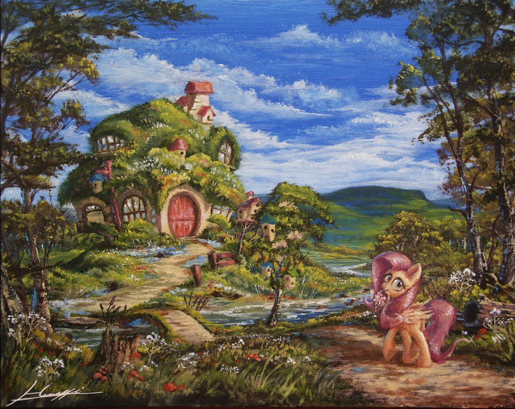 Home sweet home painting - Fluttershy Home Sweet Home