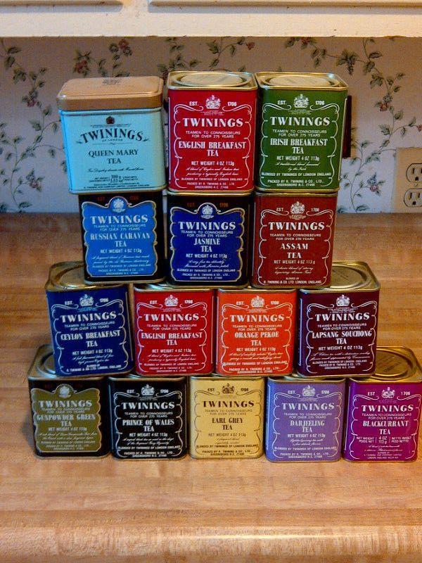 Vintage Twinings Tea Tins, Lot of 15, England, EMPTY