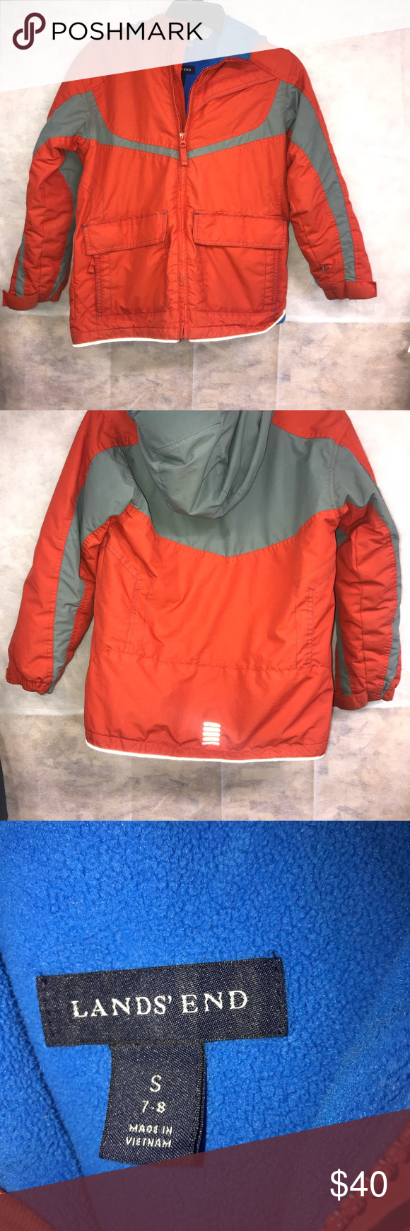 fc7d0f7c1 Land ends boys coat orange n blue Land ends boys coat orange n blue small 7/8  Lands' End Jackets & Coats Puffers