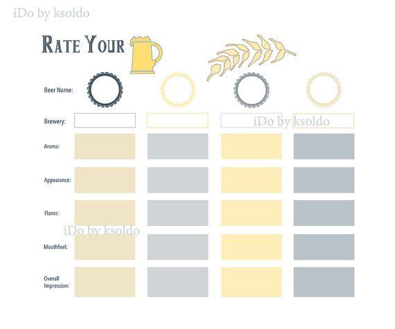 Beer Tasting Score Card Home Brewer S Association Style Etsy Beer Tasting Beer Facts Beer Birthday