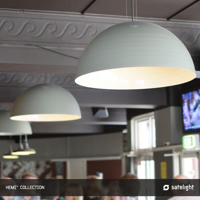Hemi pendant lighting collection satelight black and white metal spun dome light fittings