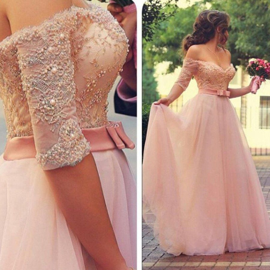 Off shoulder lace and tulle prom dresses pearls and beads