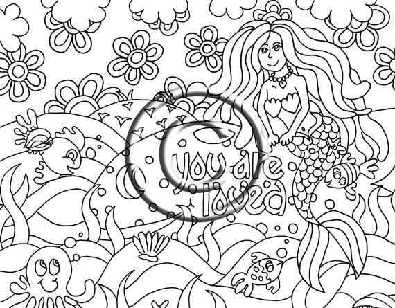 Mermaid with whale, You are Loved ... a perfect title for this adorable zendoodle! Youre never too young or too old to have fun coloring!!!
