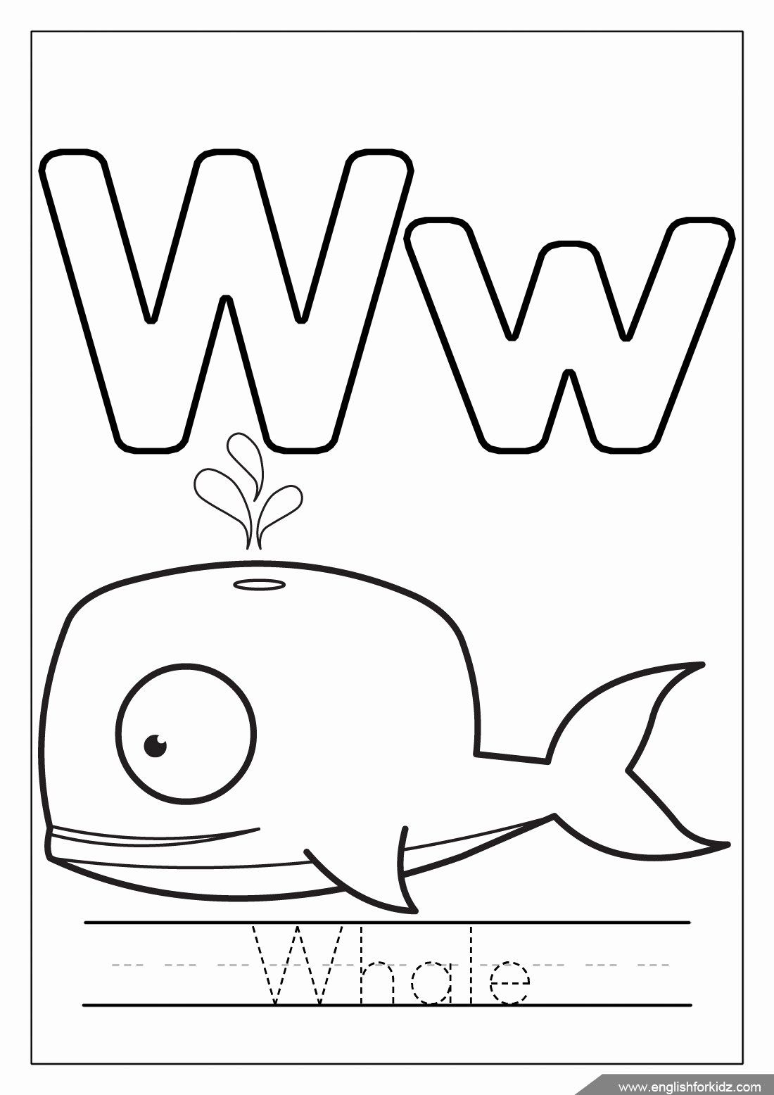 Letter W Coloring Page Awesome English For Kids Step By Step