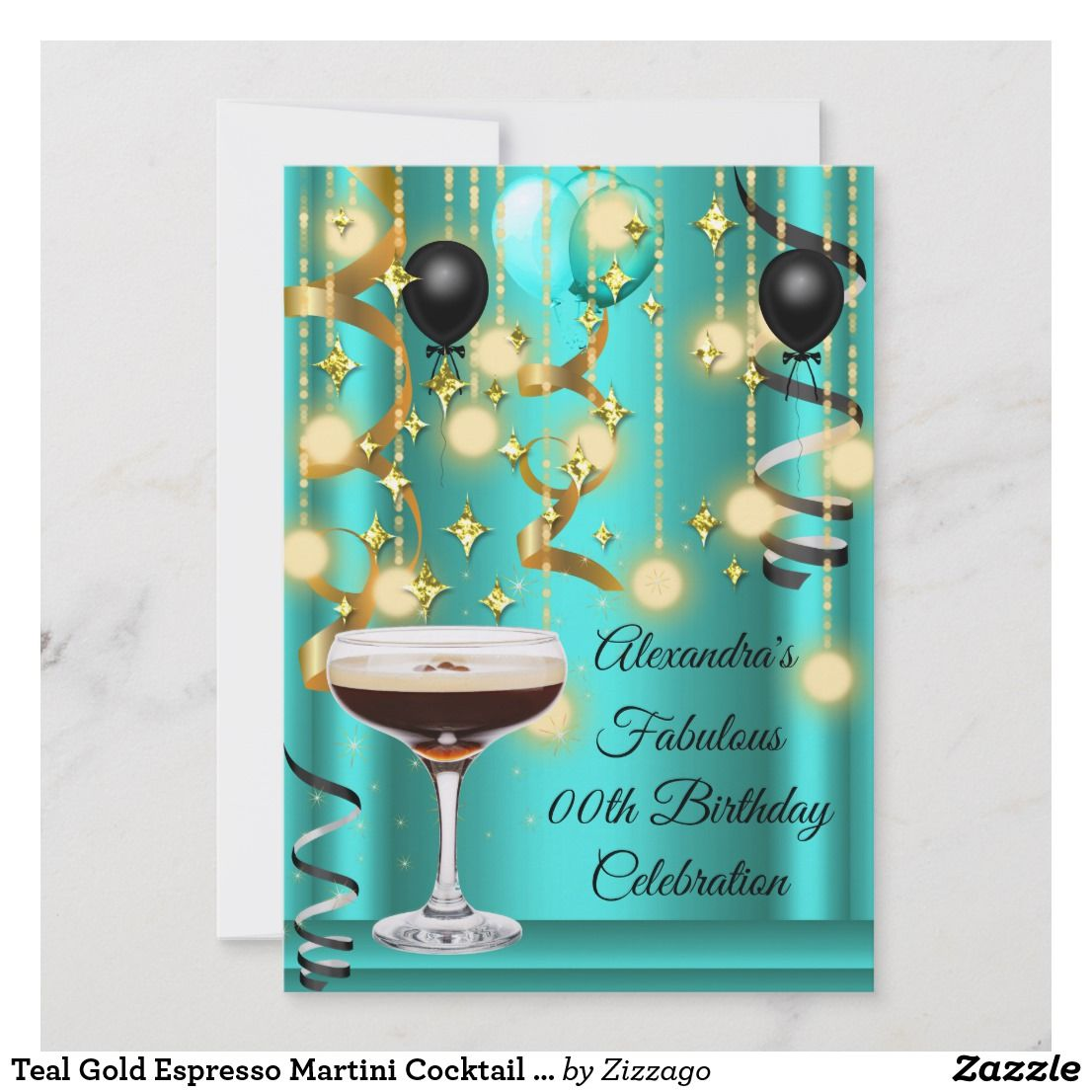 Teal Gold Espresso Martini Cocktail Party Invite Zazzle Com Espresso Martini Martini Cocktail Black Balloons Party
