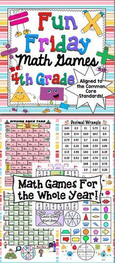 Fun Friday Math Games Make Friday Fun Again This Packet Has 40 Weeks Of Fun Friday Math Games For 4th Grade 4th Grade Math 4th Grade Math Games Math Games