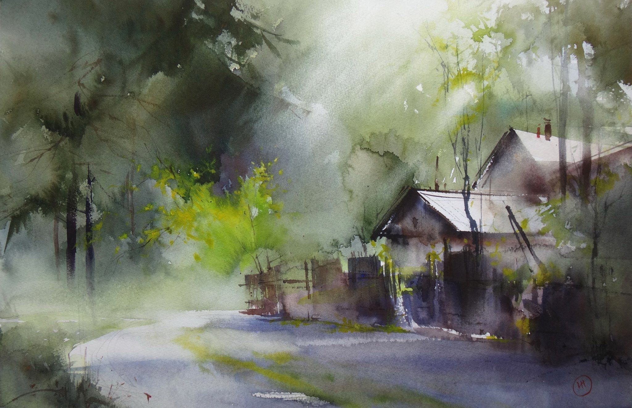 Ilya Ibryaev Village Plein Air Watercolor 53х35 Cm