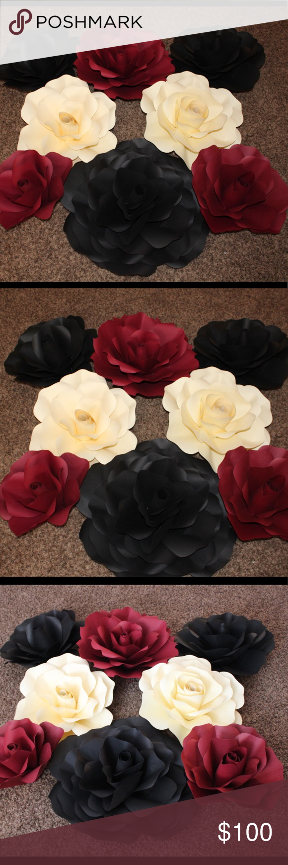 Giant paper flower set for wall decoration  Compliments Flower and Bb