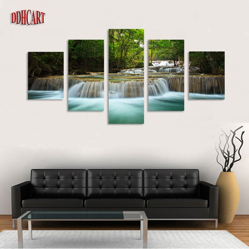5 Piece Waterfall Painting Canvas Wall Art Picture Home Decoration For Living Room Canvas Print Painting Larg Living Room Canvas Prints Home Decor Canvas Home
