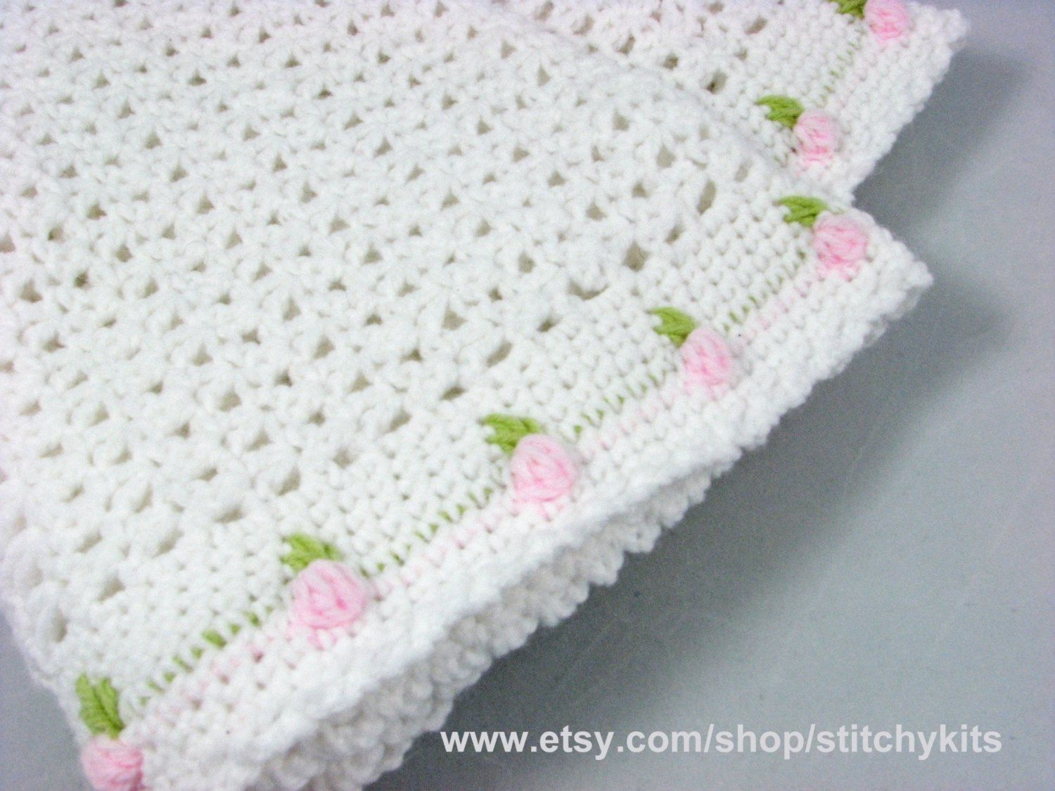 Crochet Pattern for Rosebud Baby Blanket by KeepersCottageCrafts ...