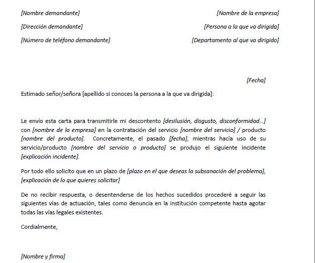 Ejemplo Carta De Reclamación Generíca Cartas Ejemplo De