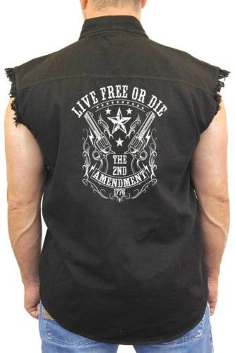 Men's Sleeveless Denim Shirt Live Free or Die 2nd Amendment Biker, Size: Large, Black