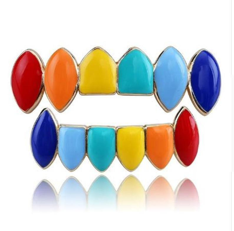Iced out Rainbow Color Grillz 6 Teeth Grills Set