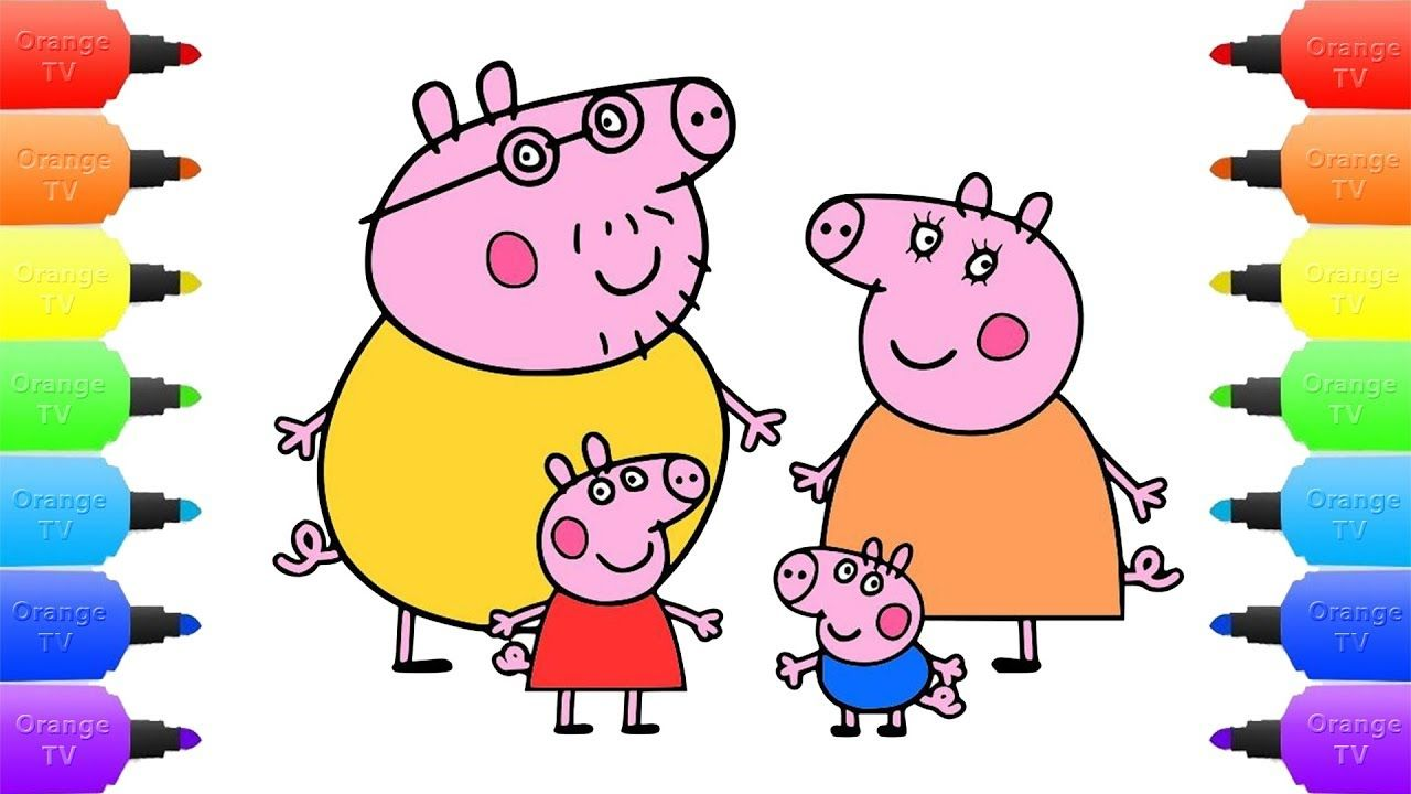 Peppa Pig\'s Family Compilation Coloring Pages - How to Draw Peppa ...
