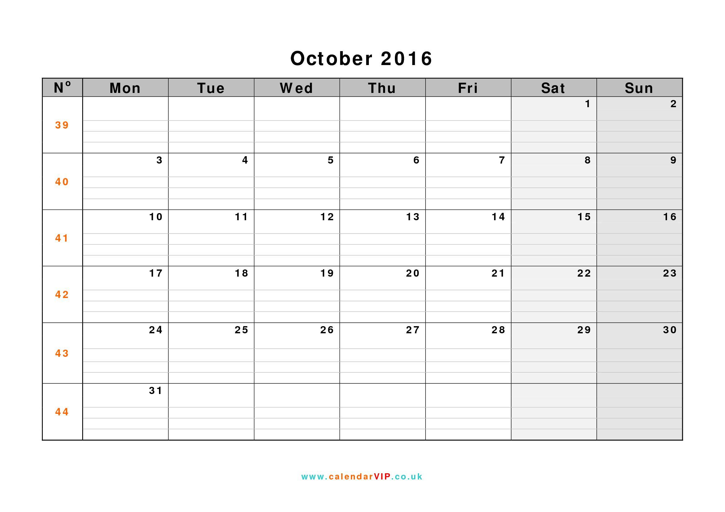 October Calendar Waterproof