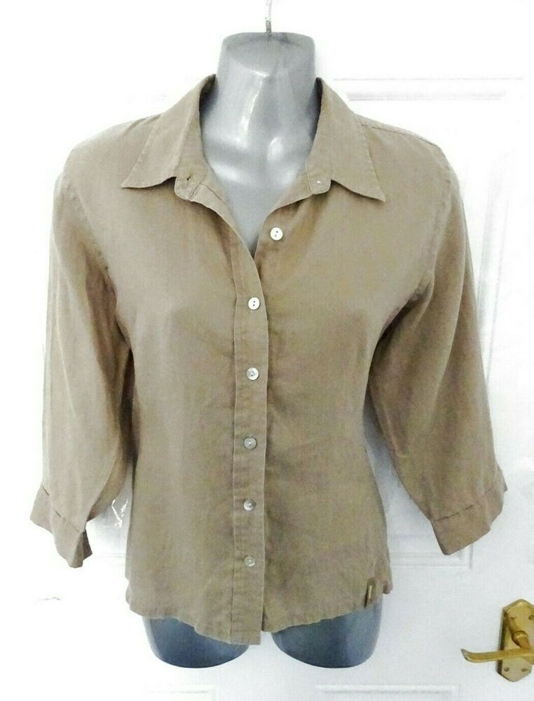 147fb16f MUSTO Size 14 Khaki Beige 100% Linen Button Up Shirt Blouse Top Utility  Style