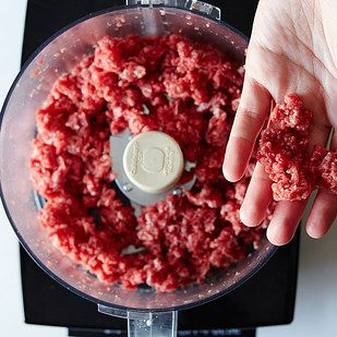 Grind whole cuts of meat in a food processor and know exactly what goes into your ground meat. Add spices and viola!
