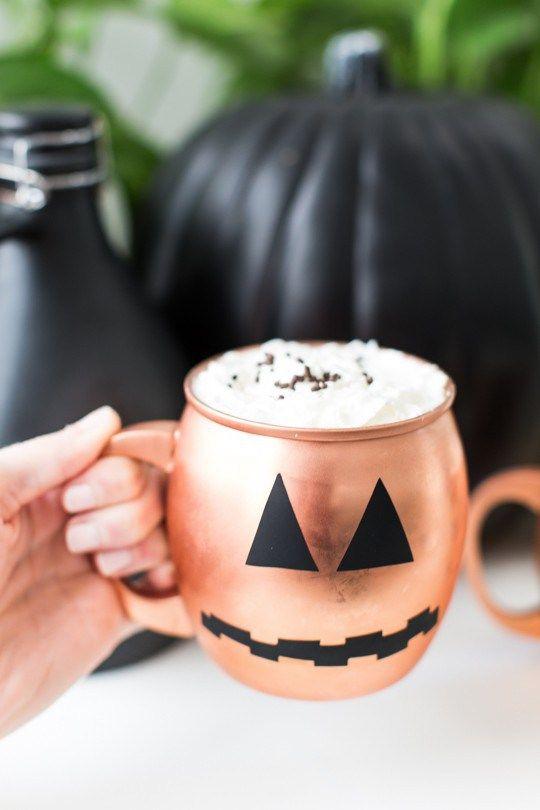 Easy Pumpkin Decal Five Minute Temporary Diy Halloween Glassware Diy Halloween Food Halloween Diy Halloween Coffee