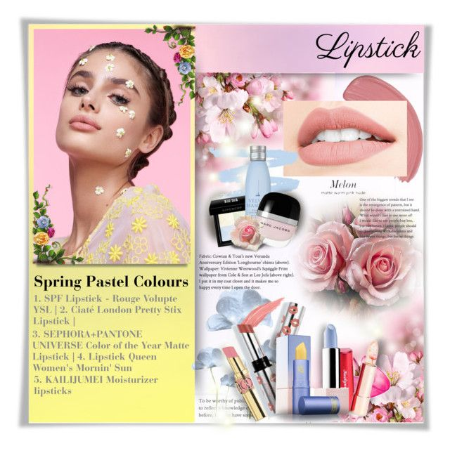 """""""Pucker Up: Spring Lips"""" by perplexidadesilencio ❤ liked on Polyvore featuring beauty, Yves Saint Laurent, Givenchy, Drybar, Marc Jacobs, Ciaté, Sephora Collection and Lipstick Queen"""