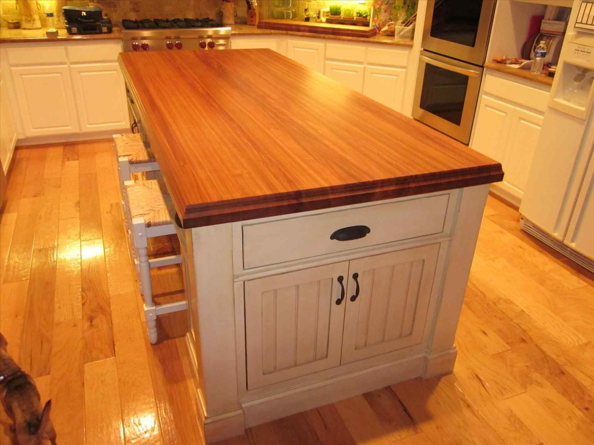 New rolling kitchen island with butcher block top at