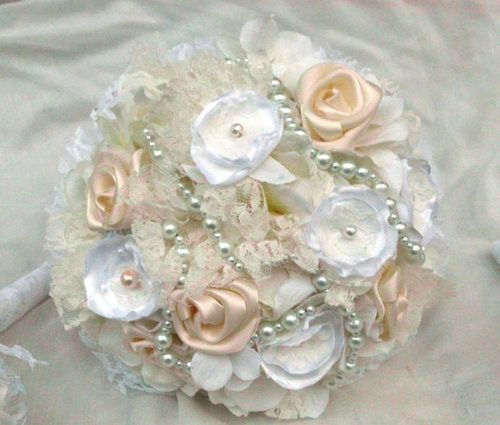 Fabric Flower Wedding Bouquet Pearl Strands by AfternoonDelite ...