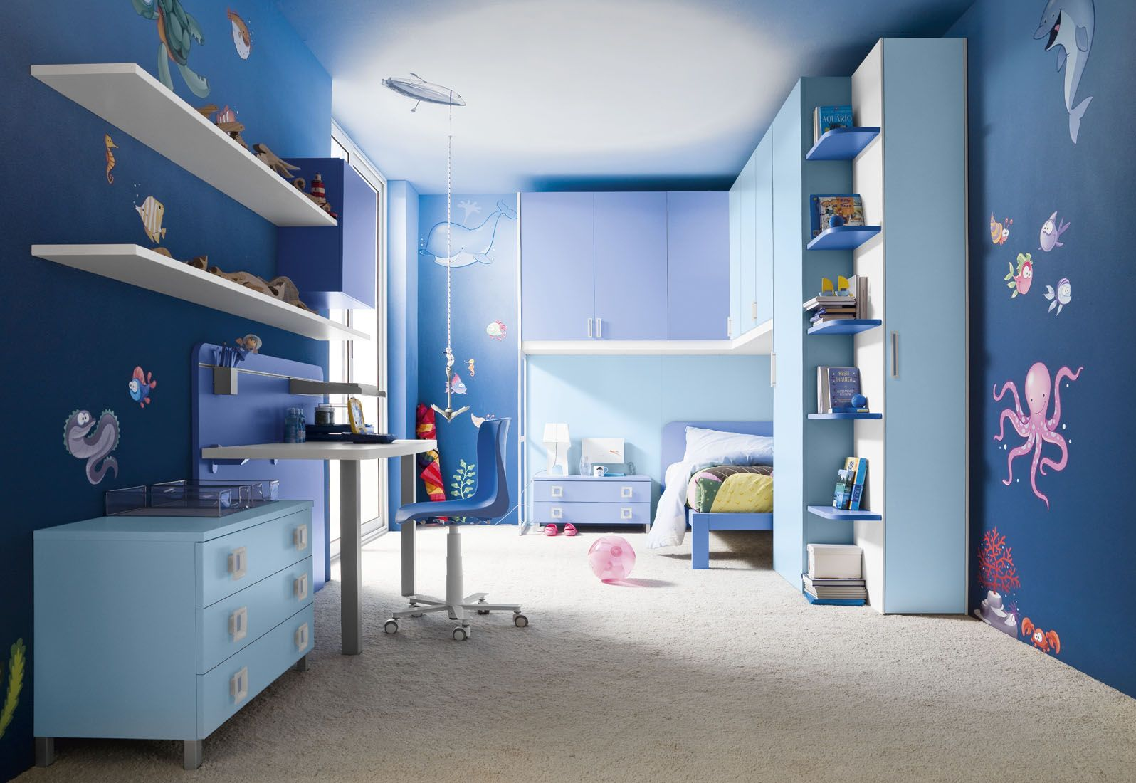 Dark blue bedrooms for boys - Kids Bedroom Underwater Fresco Ideas For Blue Boys Room Decor With Cool Modern Furniture With