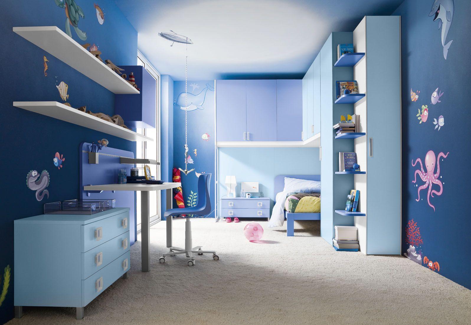 Blue Boys Room Kids Bedroom  Underwater Fresco Ideas For Blue Boys Room Decor