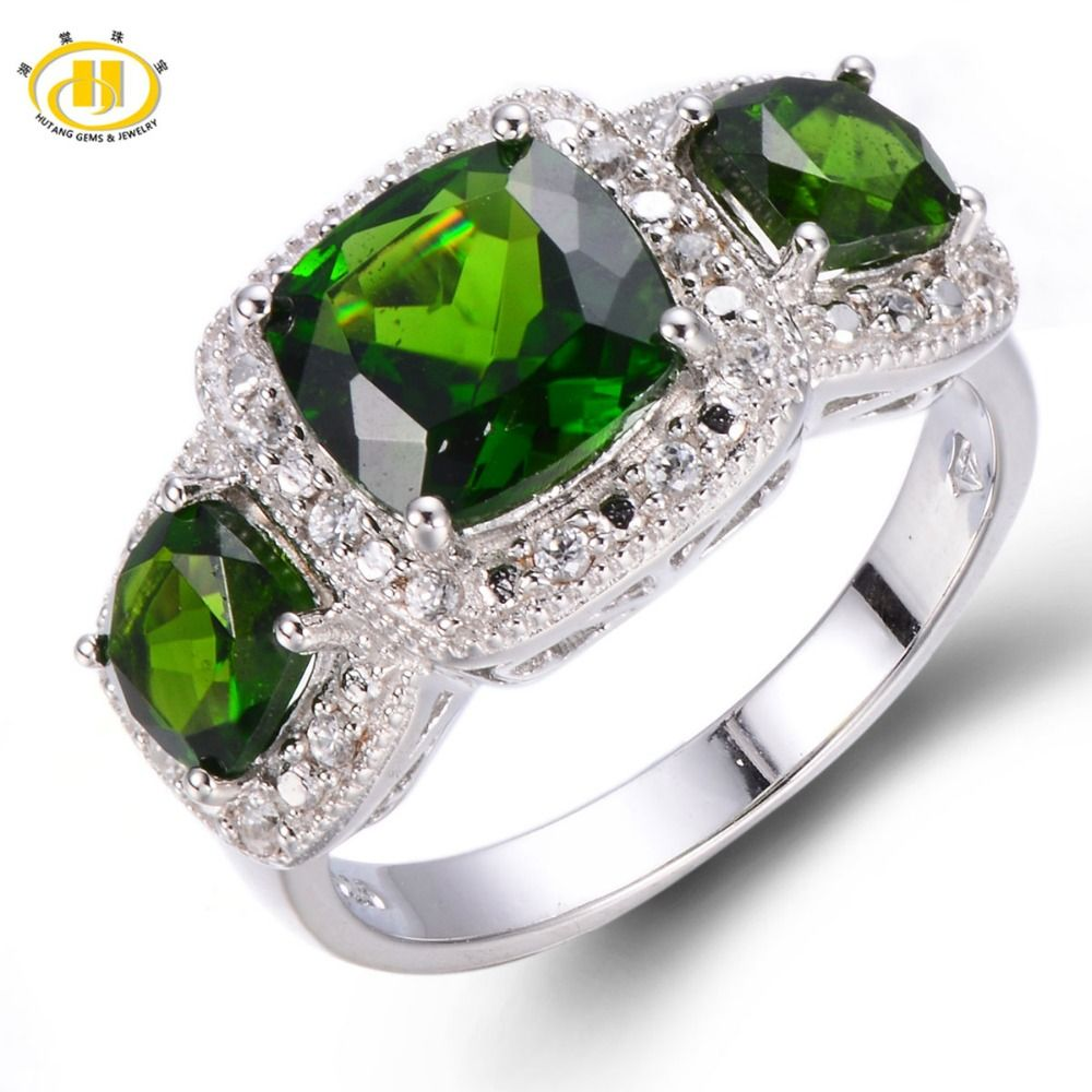 Fine Jewelry Womens Green Chrome Diopside Sterling Silver Halo Ring BROzh6x5