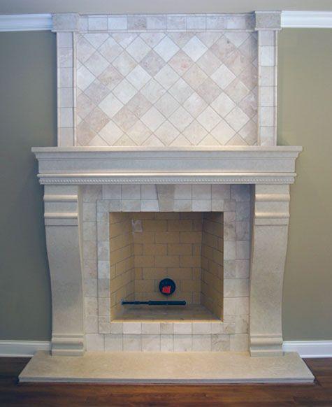 Change Small Cast Tiles Above Mantle To Large Blocks Set Broken Joint