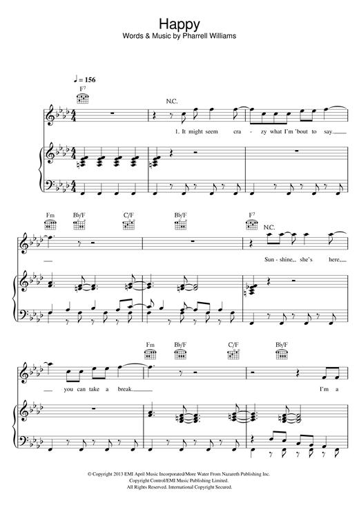 Pharrell Williams: Happy - Piano, Vocal & Guitar ... | Sheet Music ...