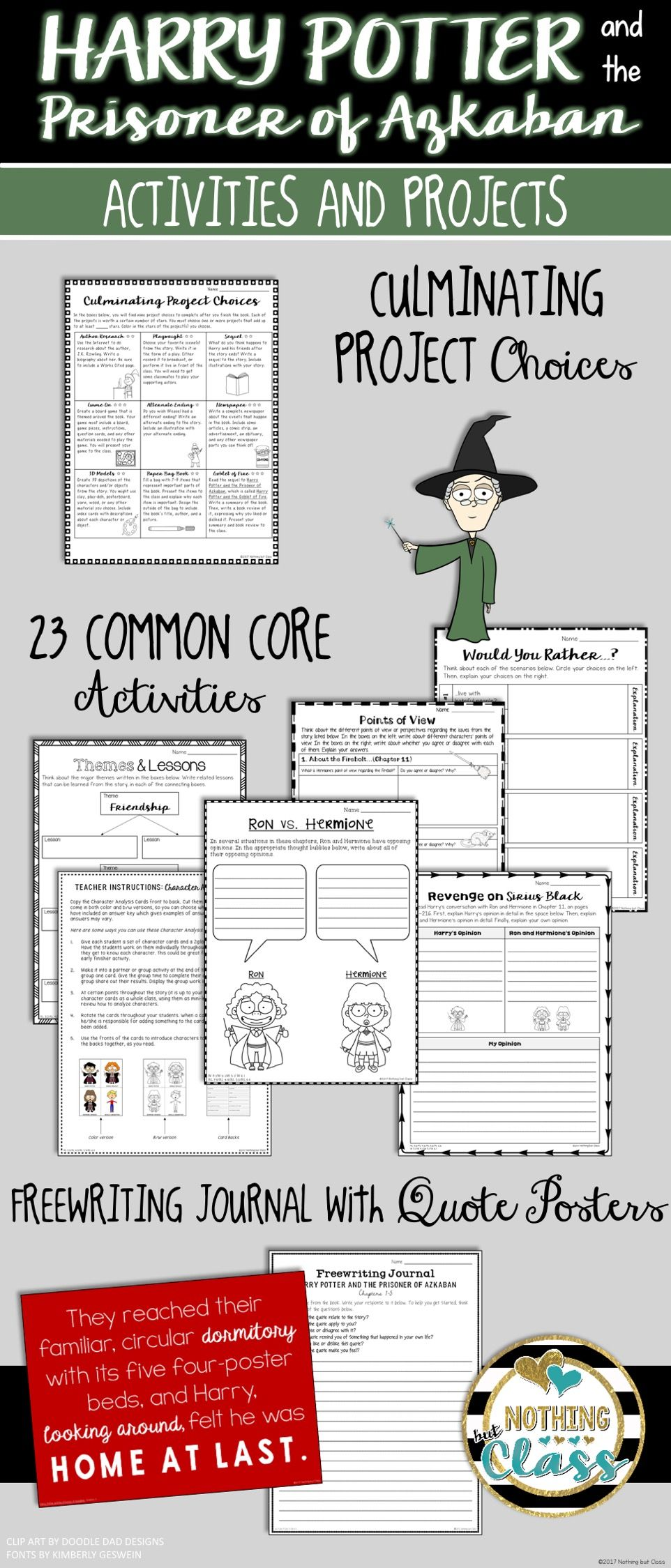 Thi Activity Packet For Harry Potter And The Prisoner Of Azkaban By J K Rowling Contain 72 Page O Common Core Activities Literary Analysi Essay
