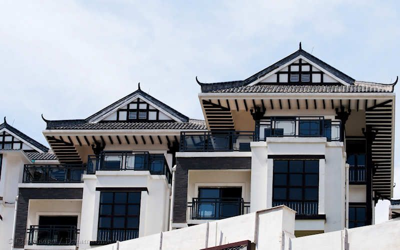 Modern housing with elements of traditional Chinese architecture at Nanning Guangxi