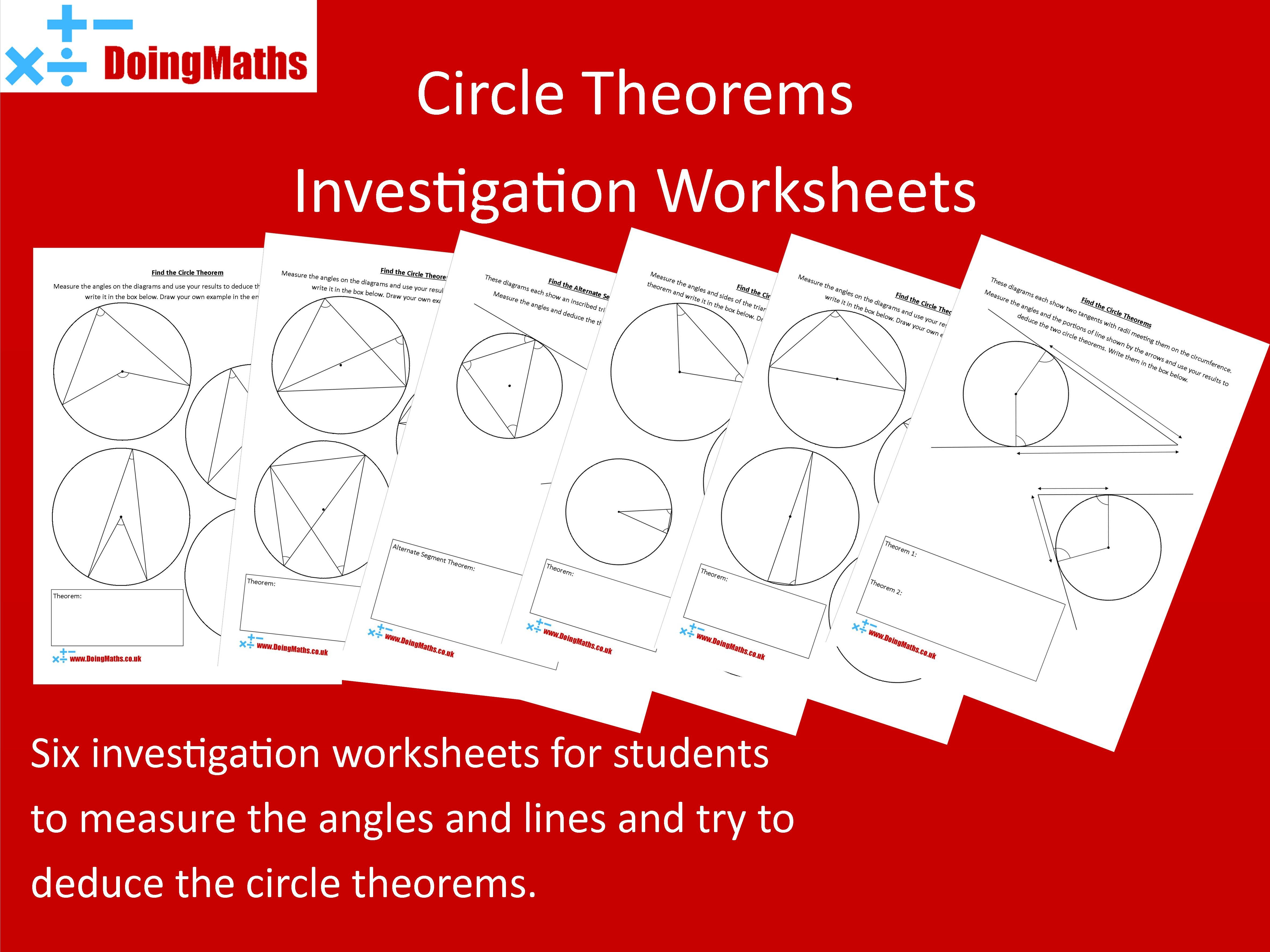 Circle Theorems Investigation Worksheets