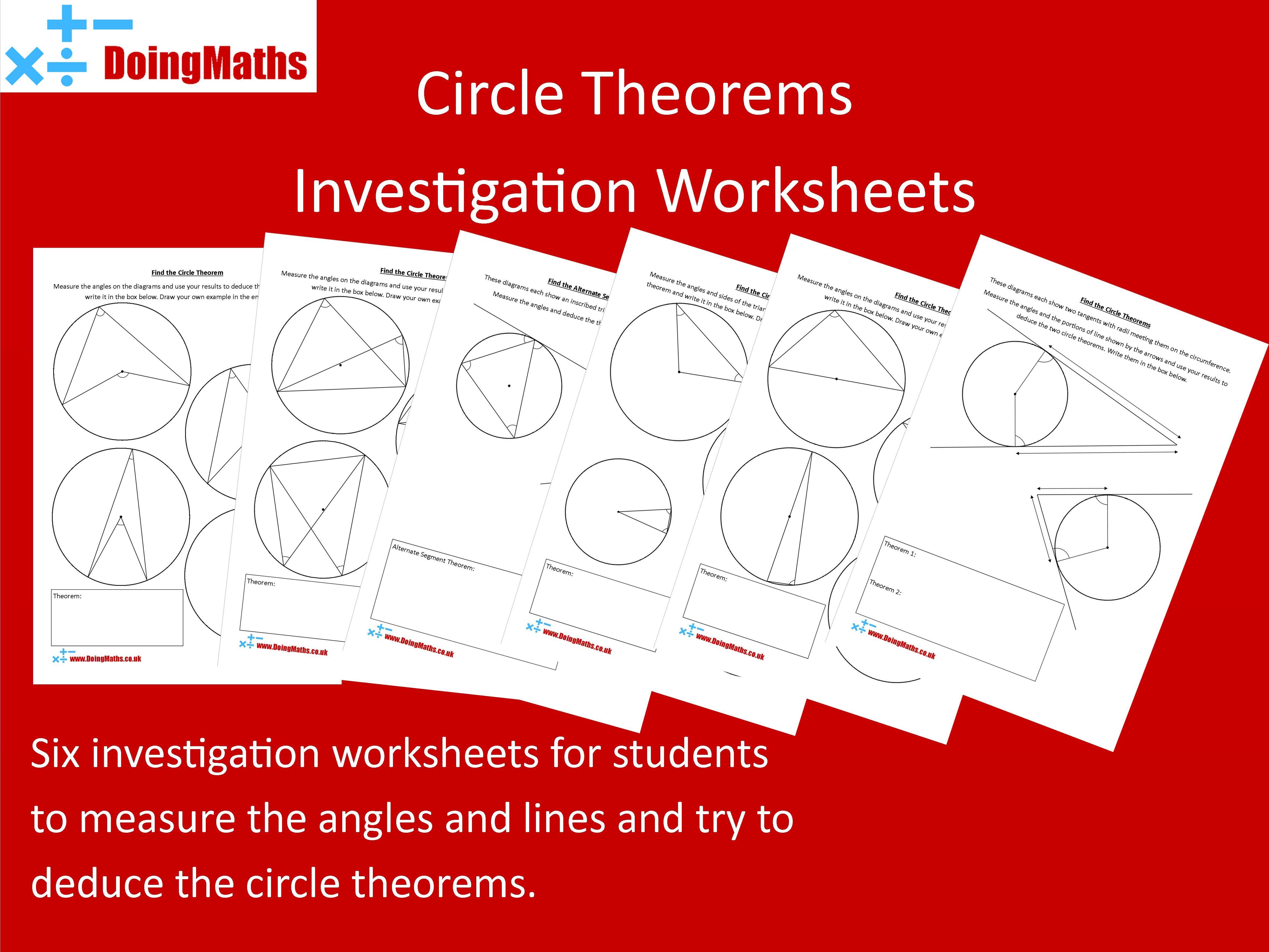 Circle Theorems Investigation Worksheets