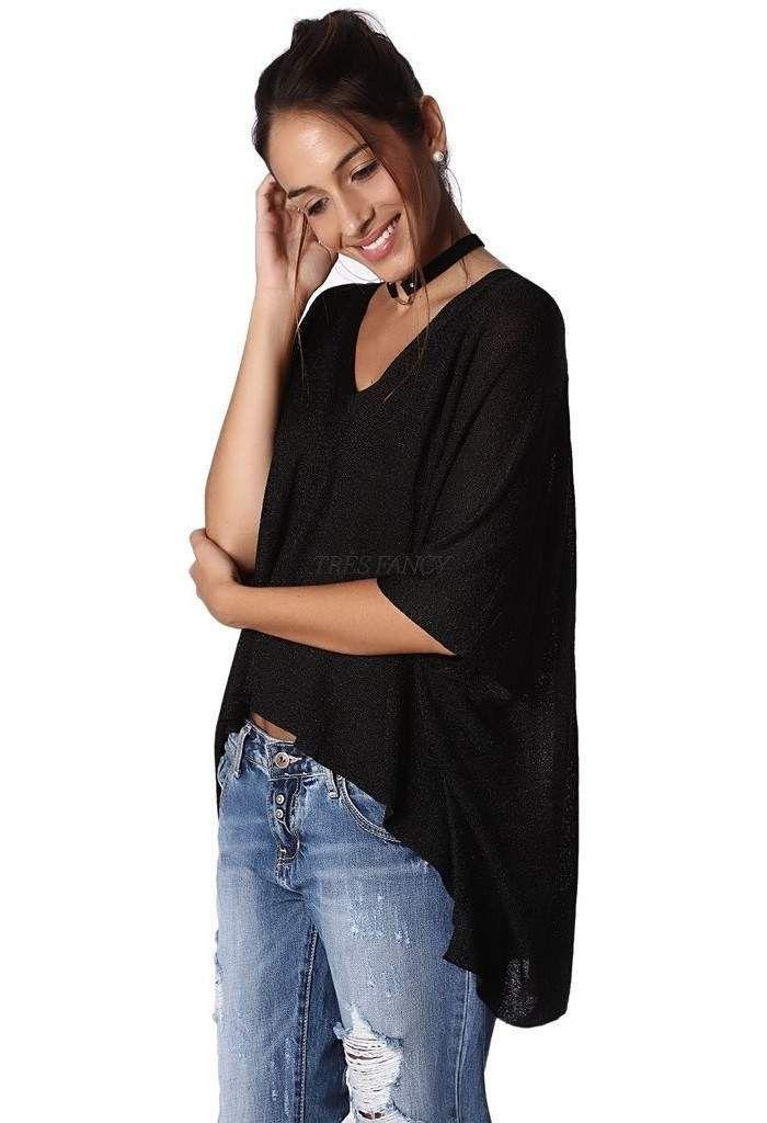 Black knit high low sweater in lurex