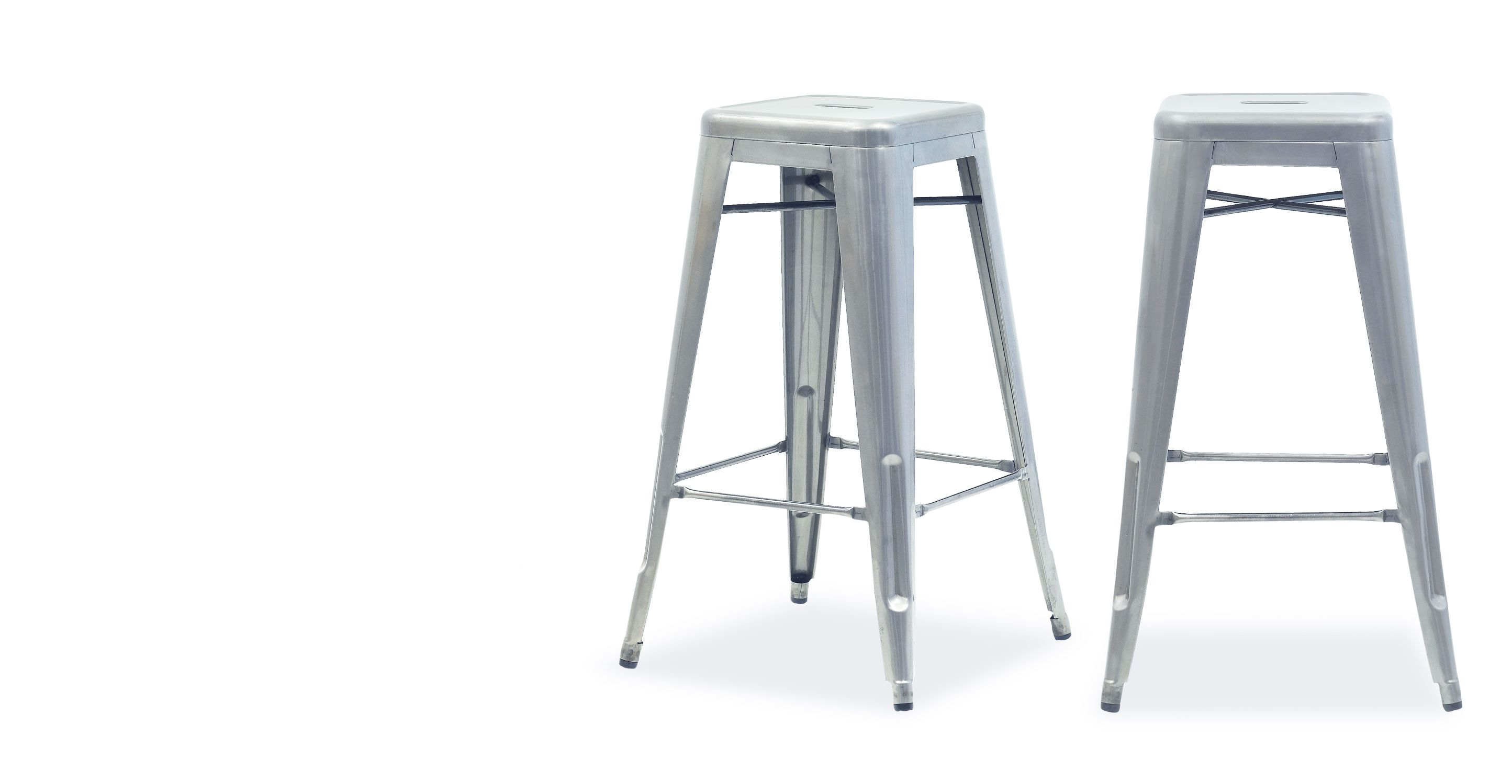 Pair of Legend Cafe Bar Stools in Brushed Galvanized