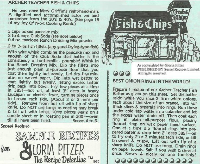 Mondays Memories Of My Mom Blog Gloria Pitzer S Secret Recipes Archer Teacher Fish Chips Imitation Plus Onion Fish And Chips Secret Recipe Onion Rings