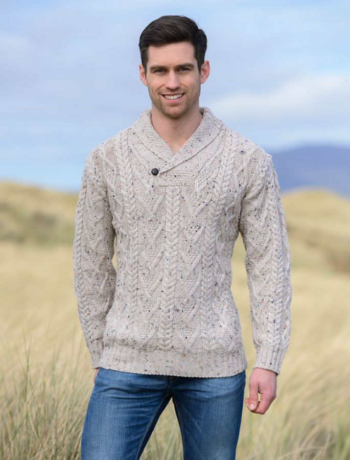 Mens Shawl Collar Sweater, Shawl Neck   Aran Sweater Market ...