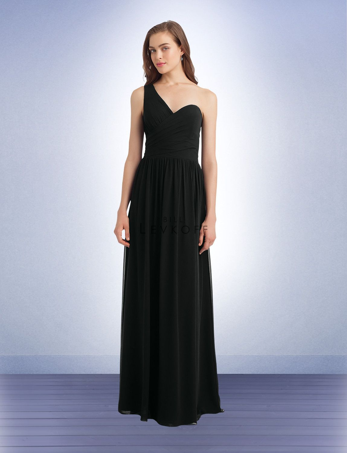 594dc038e6a9 Bill Levkoff  1128 - Chiffon one shoulder gown with a criss cross surplice  bodice.