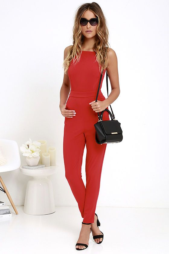 a40d6f9dc Jump Start Red Jumpsuit | Lulus | Red jumpsuit, Jumpsuit, Jumpsuit ...