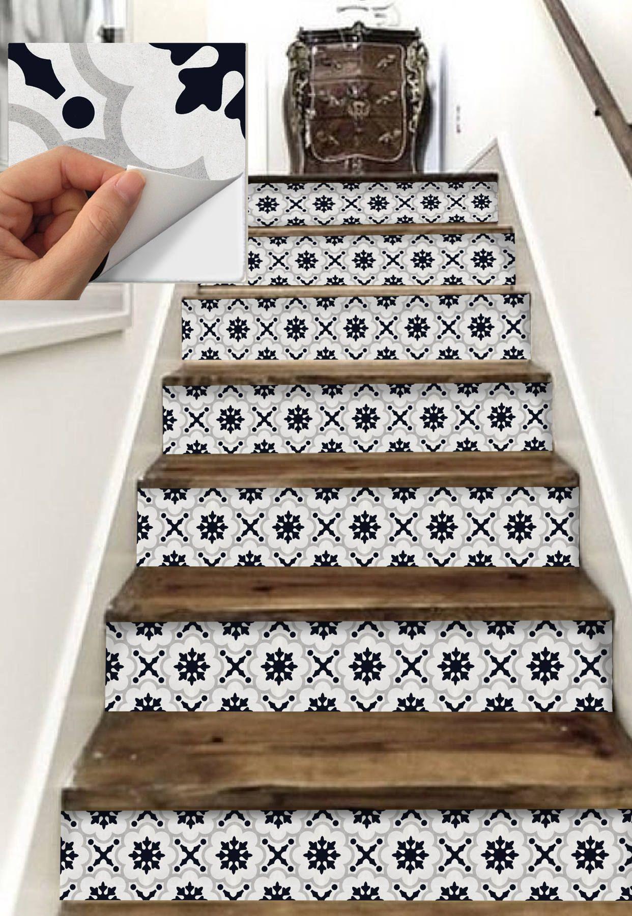 Stair Riser Vinyl Strips 15 Steps Removable Sticker Peel Etsy Stair Risers Stair Riser Vinyl Stairs Tiles Design