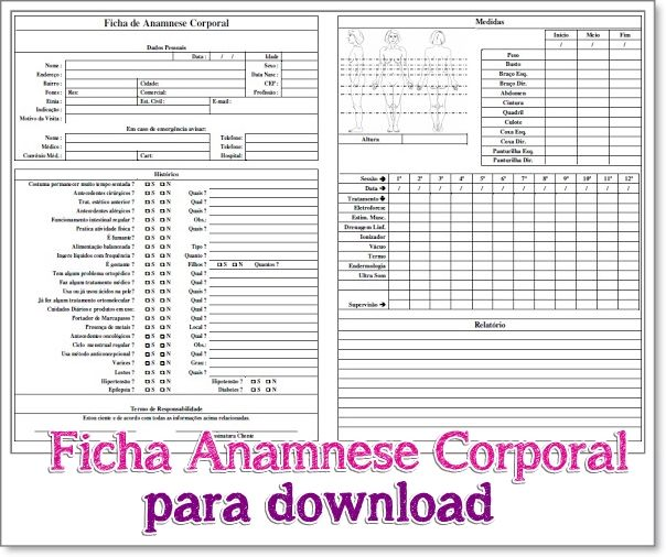 Resultado De Imagem Para Ficha De Anamnese Corporal Ficha Anamnese