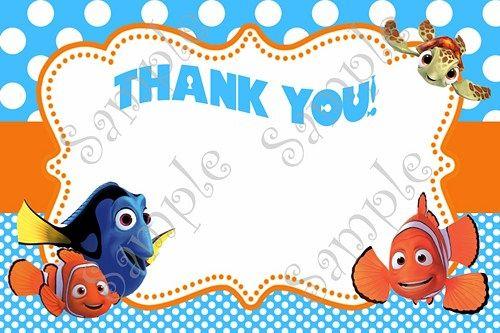 Finding Nemo Invitation Finding Nemo Birthday Nemo Thank You Card