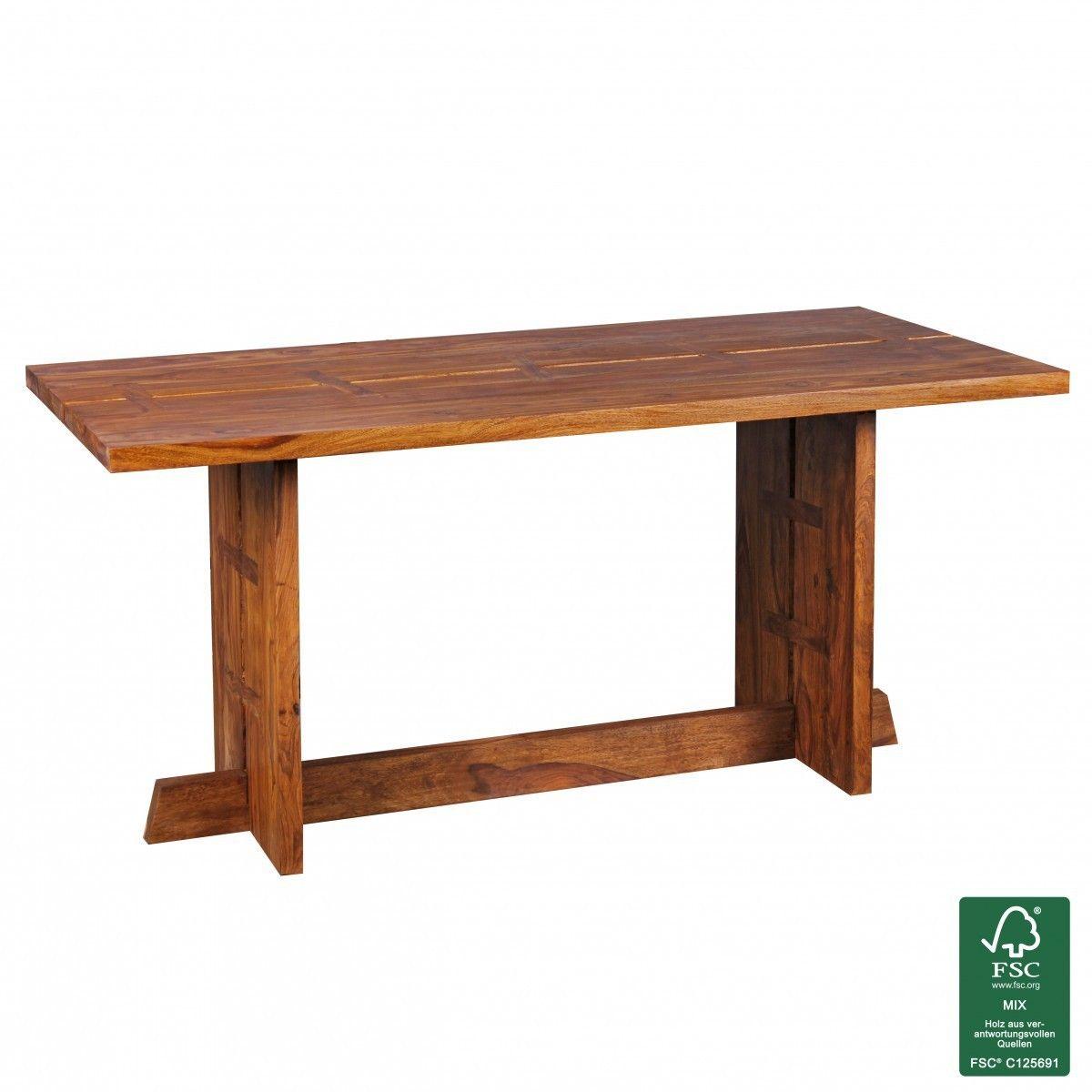 FineBuy Esstisch Massivholz Sheesham 160 cm Esszimmer-Tisch ...