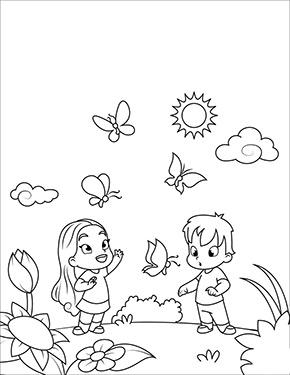 Ausmalbilder Fruhling Kinder Und Schmetterling Coloring Pages Illustration Art Line Art