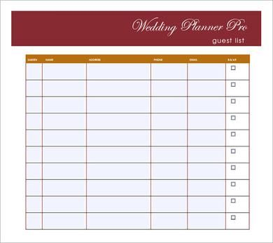 Wedding Guest List Template PDF , Wedding Guest List Template to - wedding guest list template
