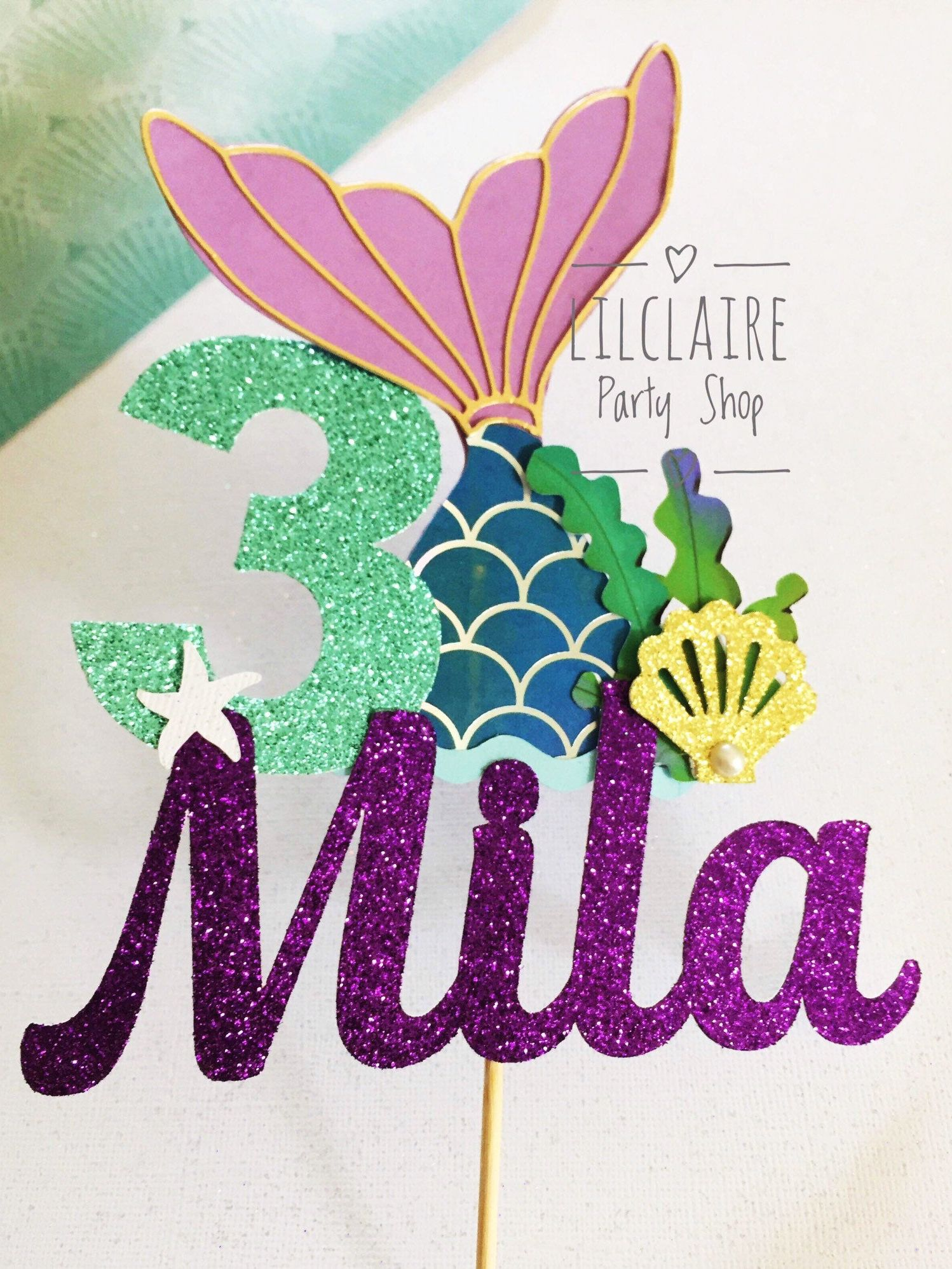 Photo of Mermaid cake topper, Mermaid birthday party, Under the sea cake topper